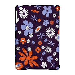 Bright Colorful Busy Large Retro Floral Flowers Pattern Wallpaper Background Apple Ipad Mini Hardshell Case (compatible With Smart Cover)