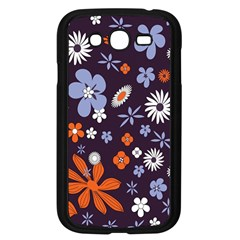 Bright Colorful Busy Large Retro Floral Flowers Pattern Wallpaper Background Samsung Galaxy Grand Duos I9082 Case (black)