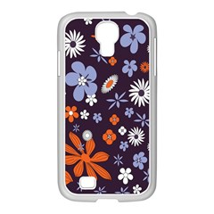 Bright Colorful Busy Large Retro Floral Flowers Pattern Wallpaper Background Samsung Galaxy S4 I9500/ I9505 Case (white)