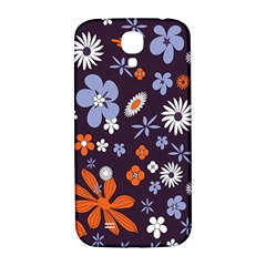 Bright Colorful Busy Large Retro Floral Flowers Pattern Wallpaper Background Samsung Galaxy S4 I9500/i9505  Hardshell Back Case