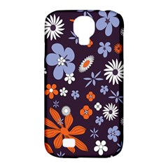 Bright Colorful Busy Large Retro Floral Flowers Pattern Wallpaper Background Samsung Galaxy S4 Classic Hardshell Case (pc+silicone)
