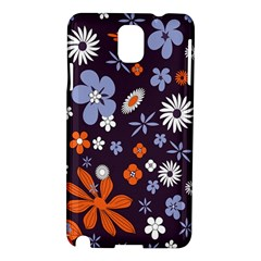 Bright Colorful Busy Large Retro Floral Flowers Pattern Wallpaper Background Samsung Galaxy Note 3 N9005 Hardshell Case by Nexatart