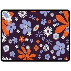 Bright Colorful Busy Large Retro Floral Flowers Pattern Wallpaper Background Double Sided Fleece Blanket (large)  by Nexatart
