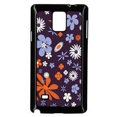 Bright Colorful Busy Large Retro Floral Flowers Pattern Wallpaper Background Samsung Galaxy Note 4 Case (black)