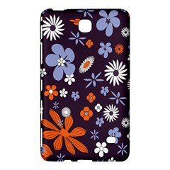 Bright Colorful Busy Large Retro Floral Flowers Pattern Wallpaper Background Samsung Galaxy Tab 4 (7 ) Hardshell Case