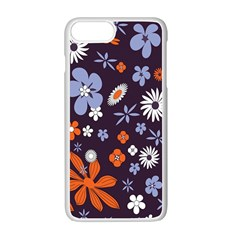 Bright Colorful Busy Large Retro Floral Flowers Pattern Wallpaper Background Apple Iphone 7 Plus White Seamless Case by Nexatart