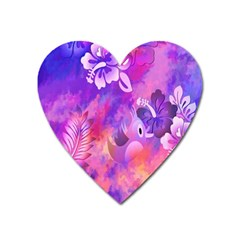 Littie Birdie Abstract Design Artwork Heart Magnet by Nexatart