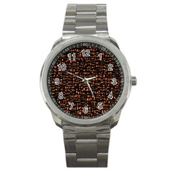 Brown Box Background Pattern Sport Metal Watch by Nexatart