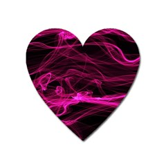 Abstract Pink Smoke On A Black Background Heart Magnet by Nexatart