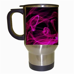 Abstract Pink Smoke On A Black Background Travel Mugs (white) by Nexatart