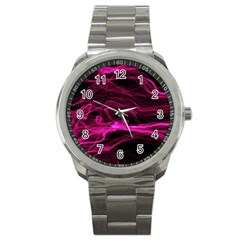 Abstract Pink Smoke On A Black Background Sport Metal Watch by Nexatart