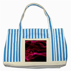 Abstract Pink Smoke On A Black Background Striped Blue Tote Bag by Nexatart