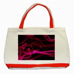 Abstract Pink Smoke On A Black Background Classic Tote Bag (red)