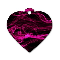 Abstract Pink Smoke On A Black Background Dog Tag Heart (one Side)