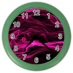 Abstract Pink Smoke On A Black Background Color Wall Clocks by Nexatart