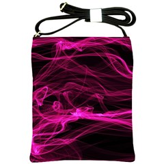 Abstract Pink Smoke On A Black Background Shoulder Sling Bags by Nexatart