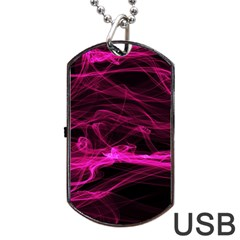 Abstract Pink Smoke On A Black Background Dog Tag Usb Flash (two Sides) by Nexatart