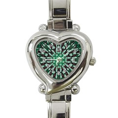 Abstract Green Patterned Wallpaper Background Heart Italian Charm Watch by Nexatart