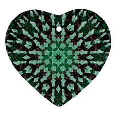 Abstract Green Patterned Wallpaper Background Heart Ornament (two Sides) by Nexatart