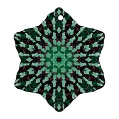 Abstract Green Patterned Wallpaper Background Snowflake Ornament (two Sides) by Nexatart