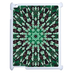 Abstract Green Patterned Wallpaper Background Apple Ipad 2 Case (white) by Nexatart