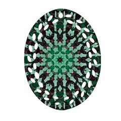 Abstract Green Patterned Wallpaper Background Ornament (oval Filigree) by Nexatart