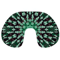 Abstract Green Patterned Wallpaper Background Travel Neck Pillows