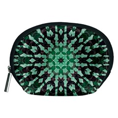 Abstract Green Patterned Wallpaper Background Accessory Pouches (medium)  by Nexatart
