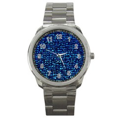 Blue Box Background Pattern Sport Metal Watch by Nexatart