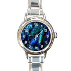 Underwater Abstract Seamless Pattern Of Blues And Elongated Shapes Round Italian Charm Watch by Nexatart