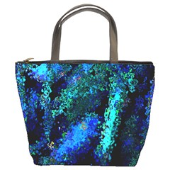 Underwater Abstract Seamless Pattern Of Blues And Elongated Shapes Bucket Bags by Nexatart