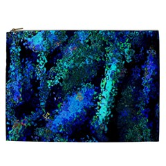Underwater Abstract Seamless Pattern Of Blues And Elongated Shapes Cosmetic Bag (xxl)