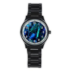 Underwater Abstract Seamless Pattern Of Blues And Elongated Shapes Stainless Steel Round Watch by Nexatart