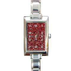 Red Box Background Pattern Rectangle Italian Charm Watch by Nexatart
