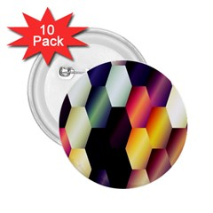 Colorful Hexagon Pattern 2 25  Buttons (10 Pack)