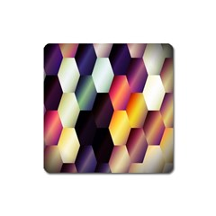 Colorful Hexagon Pattern Square Magnet by Nexatart