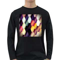 Colorful Hexagon Pattern Long Sleeve Dark T Shirts by Nexatart