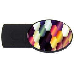 Colorful Hexagon Pattern Usb Flash Drive Oval (4 Gb)