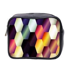 Colorful Hexagon Pattern Mini Toiletries Bag 2 Side