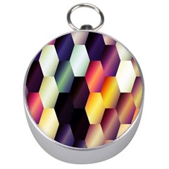 Colorful Hexagon Pattern Silver Compasses by Nexatart