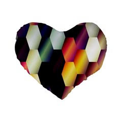 Colorful Hexagon Pattern Standard 16  Premium Flano Heart Shape Cushions by Nexatart
