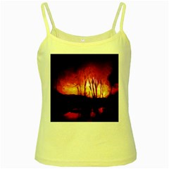 Fall Forest Background Yellow Spaghetti Tank