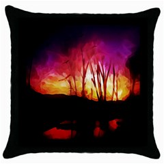 Fall Forest Background Throw Pillow Case (black) by Nexatart