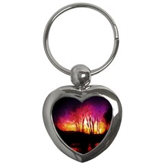 Fall Forest Background Key Chains (heart)