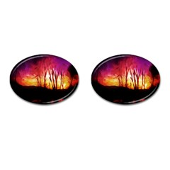 Fall Forest Background Cufflinks (oval) by Nexatart