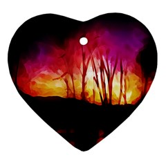 Fall Forest Background Heart Ornament (two Sides) by Nexatart