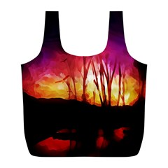 Fall Forest Background Full Print Recycle Bags (l)  by Nexatart