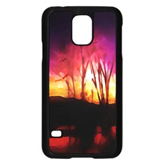 Fall Forest Background Samsung Galaxy S5 Case (black) by Nexatart