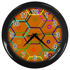 Color Bee Hive Color Bee Hive Pattern Wall Clocks (black) by Nexatart