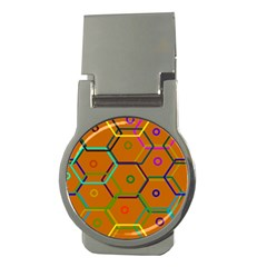 Color Bee Hive Color Bee Hive Pattern Money Clips (round)  by Nexatart